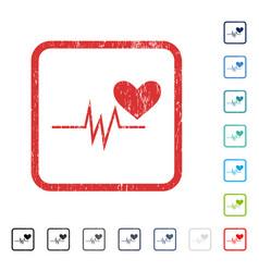Heart pulse signal icon rubber watermark vector