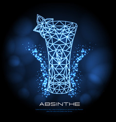 hipster polygonal cocktail absinthe neon sign vector image