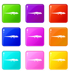 Iguana icons 9 set vector