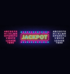 jackpot neon sign casino design template vector image