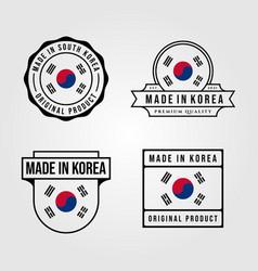 made in korea logo set vintage symbol design vector image