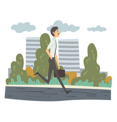 Man walking with briefcase businessman going to vector