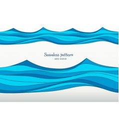 Marine pattern with stylized blue waves on a light vector