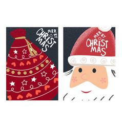 merry christmas greeting with santa claus greeting vector image