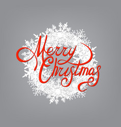 merry christmas red inscription and a wreath of vector image