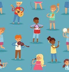 music kids cartoon characters set of vector image
