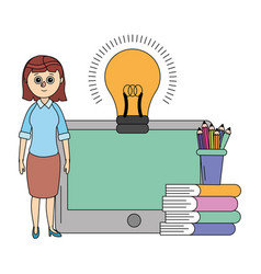 online education woman cartoon vector image