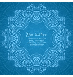 Ornamental round blue lace pattern 3 vector image