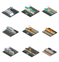 Railway station isometric set vector