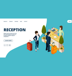 reception web page isometric hotel info point vector image