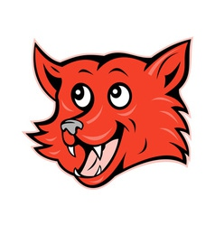 Red fox head grinning smiling vector