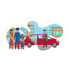 Rich indian family waiting for car vector