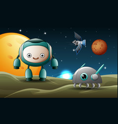 robot cartoon in the moon with tiny robot vector image