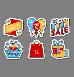 Season sale icon sticker set flat style color vector