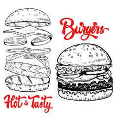 set hand drawn burgers design elements vector image
