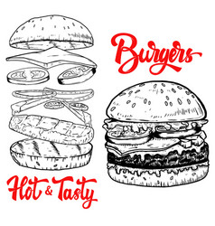 Set of hand drawn burgers design elements for vector