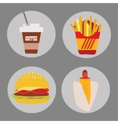 Set of icons fast food coffee potato hamburger hot vector image