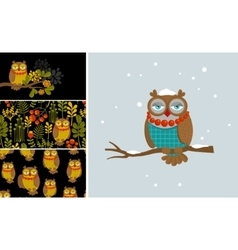 Set of with fashionable owl vector