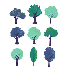 simple trees set vector image