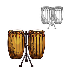 Sketch folk drums musical instrument vector