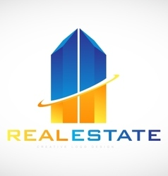 Skyscraper building real estate logo icon design vector