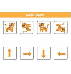 Spatial orientation for kids cute cartoon tiger vector