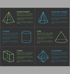 Square pyramid and cylinder vector