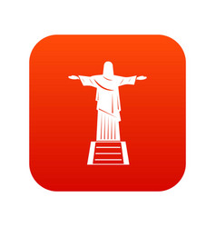 the christ the redeemer statue icon digital red vector image