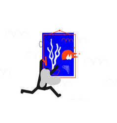 The girl hangs an interior picture vector