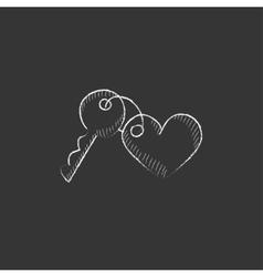 Trinket for keys as heart Drawn in chalk icon vector