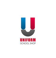 u letter icon for school uniform shop vector image