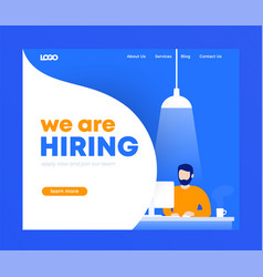 We are hiring banner landing page design vector