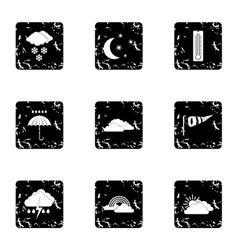 Weather outside icons set grunge style vector image