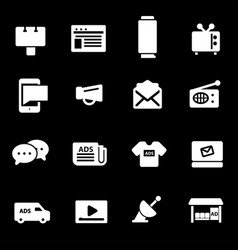 white advertisement icons set vector image
