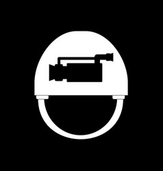 White icon on black background helmet with video vector