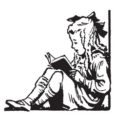 young girl sitting reading recreation vintage vector image