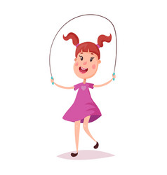 Young happy girl jumping with skipping rope vector