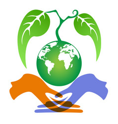 hands holding earth plant vector image
