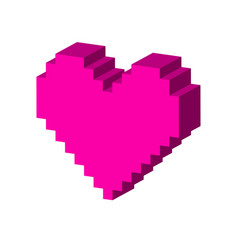 pixel heart symbol flat isometric icon or logo 3d vector image