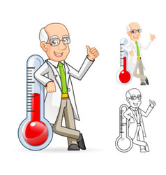 Scientist Leaning Against a Temperature vector image