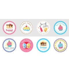 Set of cute sweet bakery badge label vector