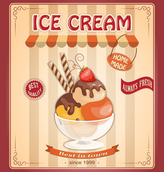 vintage background with home made ice cream vector image