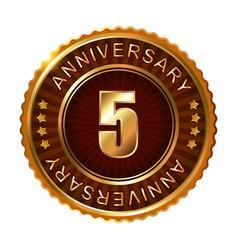 5 years anniversary golden brown label vector