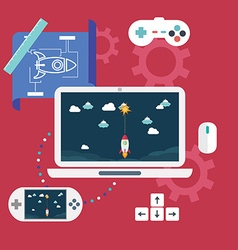 Abstract flat of game development concepts vector image vector image