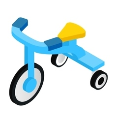 Blue tricycles isometric 3d icon vector
