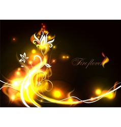 fire flowers vector image vector image