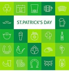 Line Art Modern Saint Patrick Day Icons Set vector image