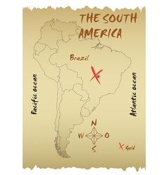 Map of the South America vector image