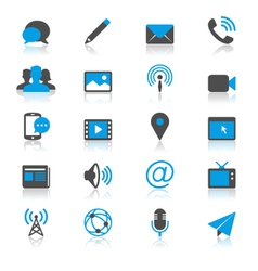 Media and communication flat with reflection icons vector image vector image
