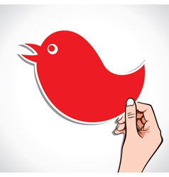 red bird label vector image
